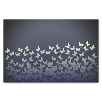 Graphite dark blue steel color butterflies pattern tissue paper