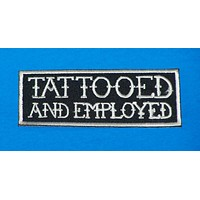 Tattooed White on Black Small Iron on Patch for Biker Vest SB1065