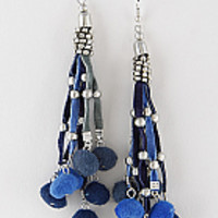 "4.25""  blue dangle pom pom boho bead earrings"