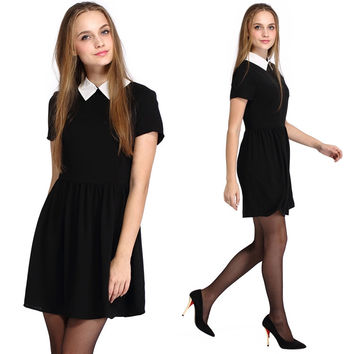 2016 Summer Fashion Vestidos For Women Elegant Peter Pan Collar Dresses Party Lady Short Sleeve Office Dress School Sundress