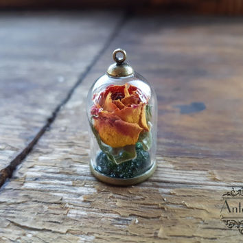 Little Rose terrarium necklace Glass dome Flower.dried flower,Glass bubble,Glass orb flower necklace,Dried flower jewelry,Botanic jewelry