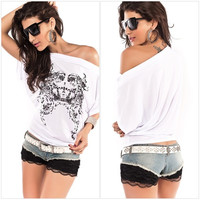 Women Sexy Off Shoulder Top Casual Long Sleeve Loose T-Shirt Blouse = 1956890500