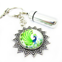 Peacock Charm Pill Case Keychain, Waterproof Pill Case, Peacock Pill Holder, Peacock Keychain
