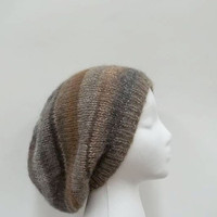 Knitted colorful slouchy hat wool blend size large 4940