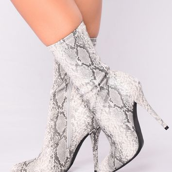 No Snakes Allowed Heel Bootie - Snake