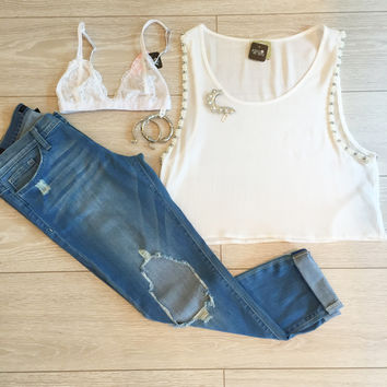 White Alondra Beaded Crop Top