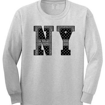 Kings Of NY New York NYC Bandana Print Long Sleeve Graphic T-Shirt Streetwear
