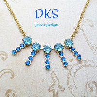 Blue on Blue, Swarovski Necklace, Bridal, Gold Setting, Adjustable, Prom Jewelry, 8MM,DKSJewelrydesigns, FREE SHIPPING