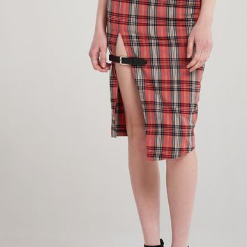 Mary Check Slit Skirt Discover the latest fashion trends online at storets.com