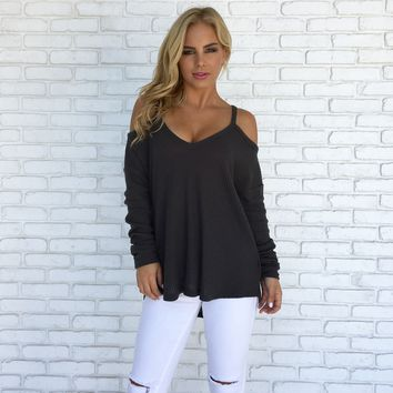 Cuddle Up Sweater Top in Charcoal