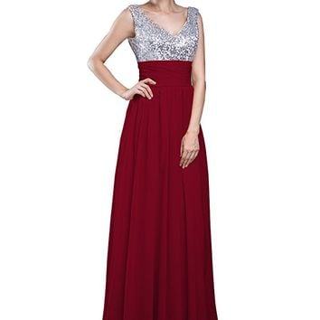 Women's V Neck Sleeveless Floor Length Chiffon Formal Gown With Sequined Bodice