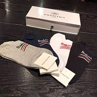 Balenciaga Men Fashion Casual Sport 100% Cotton Socks+Gift Box