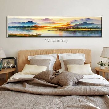 Landscape oil painting Hand painted abstract painting on canvas beautiful mountains and lake Wall Pictures home decor cuadros abstractos