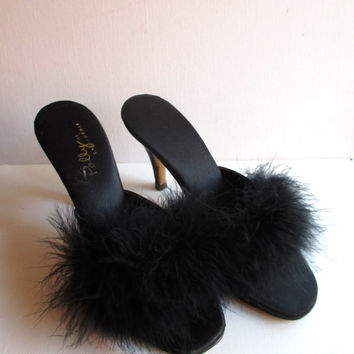 Vintage High Heel Boudoir Slippers Boa Feathers Polly of California