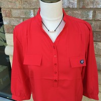 Georgia Bulldogs Button Down Tunic