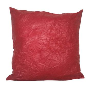 """Faux Leather 18""""x18"""" Pillow Cover - Red (Perforated Faux Leather back)"""