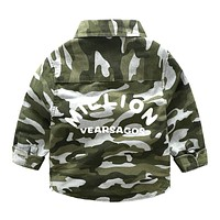 Kids Fashion Camouflage Shirts Children Boys Cotton Blouses Three Quarter Sleeves Spring Autumn