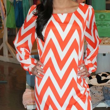Orange & White Chevron Dress