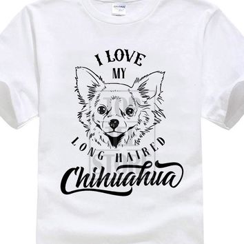 I Love My Long Haired Chihuahua Dog T-Shirts - Men's Top Tee