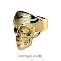 Mens Modern Italian 14K Yellow Gold Skull Ring R635-14KYGS