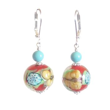 Murano Glass Red Turquoise Butterfly Ball Sterling Silver Earrings