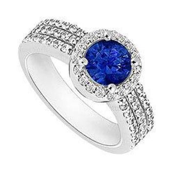 Sapphire and Diamond Halo Engagement Ring : 14K White Gold - 1.60 CT TGW