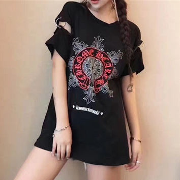 """Chrome Hearts"" Women Casual Personality Retro Pattern Print Short Sleeve T-shirt Tops"