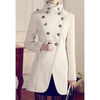 edlwise High collar white coat edlwise