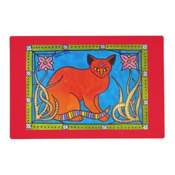 Indian Cat With Lilies Colorful Cat Design Placemat