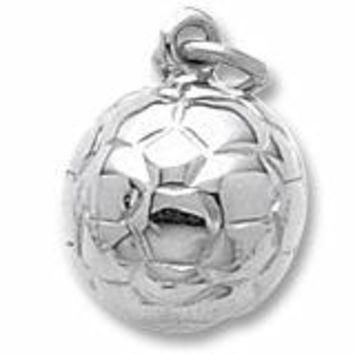 Soccer Ball Charm In Sterling Silver