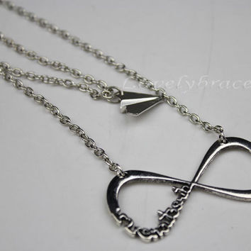 2 necklace, necklace, a direction Directioner forever and paper airplane necklace, charm, harry styles, necklace is the best gift
