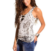 Q2 Black Tie Dye Knit Tank Top