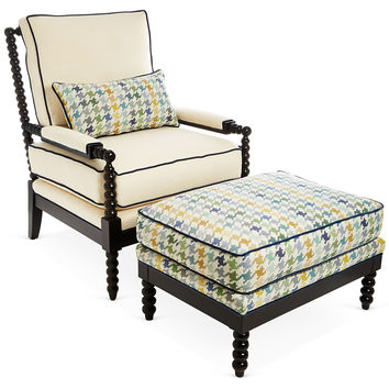 Taylor Burke Home, Gregg Chair & Ottoman, Blue Houndstooth, Chairs with Ottomans/Footstools