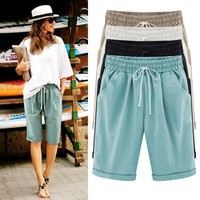 Lady Casual Short Trousers Solid Color Khaki