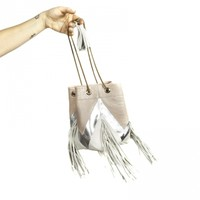 Julie - Pink Silver and White Fringed Bucket Bag by BLTRX