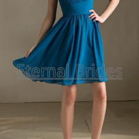 Blue One shoulder neckline chiffon ruched bodices with pleated band knee length bridesmaide dress
