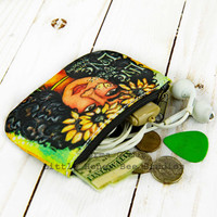 Bohemian Coin Purse, Bohemian Change Purse, Small Zipper Pouch, Credit Card Holder, Gypsy Art, Bohemian Bag, Hippie Art, Small Gifts for Her