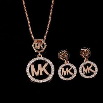 LMFOP6 Shiny Jewelry New Arrival Gift Accessory Hot Sale Stylish Diamonds Earrings Set Necklace