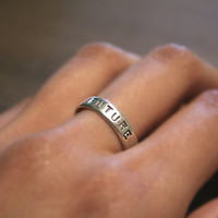 Great Price - Sterling Silver Custom Letter Stamped Ring Band for Men, Women, Unisex Speak Dreams, Love, Pride and Memory