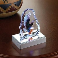 Bald Eagle Crystal Glass Mini Sculpture With LED Light