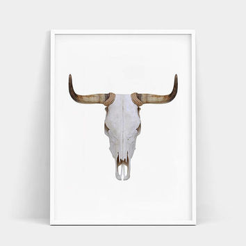Bull Skull Print, Bull Skull Poster, South Western Decor, Bull Skull Wall Art, Cow Skull, Large Printable Poster, Animal Print, Bull Horns