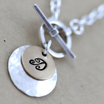 1 Initial custom necklace Toggle necklace by LustrousElements