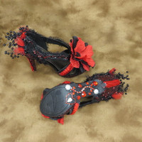 Valentine Wedding - Wedding Shoes - Red And Black - Wedding - High Heels - Gothic - Bridal Shoes - Bridal - Accessories