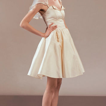Akemi short silk wedding dress ensemble complete bridal outfit with matching veil and headpiece