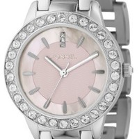 Fossil Women's ES2189 Jesse Silver-Tone Stainless Steel Watch with Pink Dial and Link Bracelet