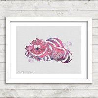 Cheshire Cat, Alice's Adventures in Wonderland, Disney Watercolor Art Poster Print, Kids Room Decor, Not Framed, Buy 2 Get 1 Free! [No. 68]