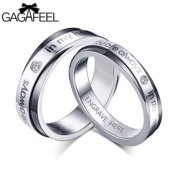 Wedding Rings For Men Women Stainless Steel Rings with Zircon Engrave Name