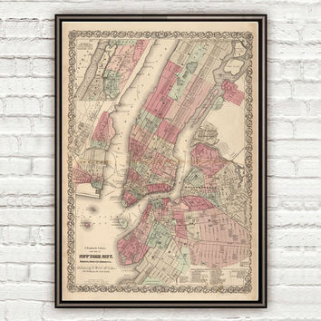 Old New York map 1866 Manhattan
