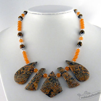 Leopard Jasper necklace, geometric necklace collar, orange necklace, boho jewelry, statement necklace, necklace choker, jade necklace, gift