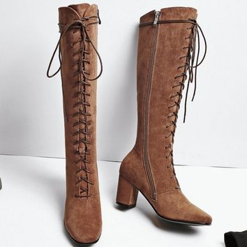 One-nice™ Women High Boots Sexy Fashion Boots Lace Up High Heels Woman Shoes Coarse Heels Brown